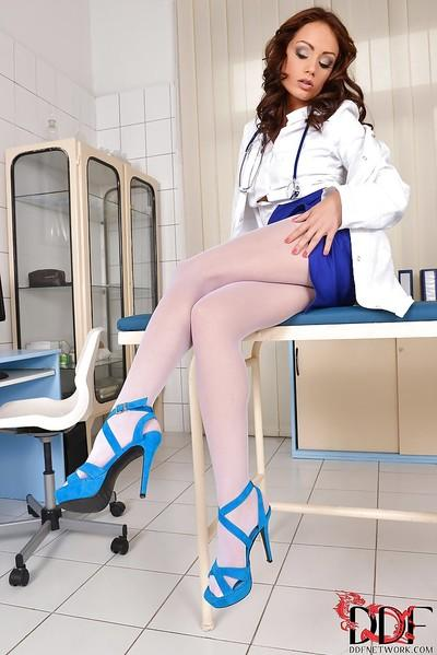 Flawless milf-nurse Sophie Lynx is rocking hard when she undresses