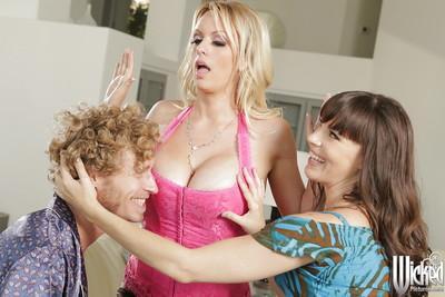 Threesome groupsex features milf pornstars Dana DeArmond and Stormy Daniels