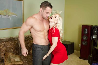 Hardcore blonde Ashley Fires is licking this hard dick on the camera