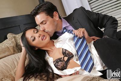 Brunette milf pornstar Kaylani Lei is showing her body in sexy lingerie