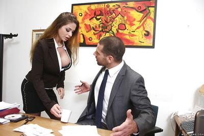 Brunette milf with big tits kissing and anal fucking in the office
