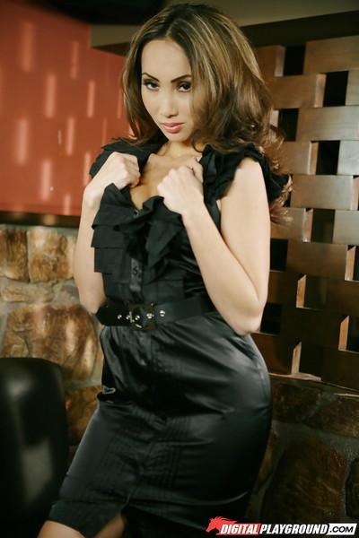 Enticing Asian milf Katsuni dances sweetly in amazing black dress