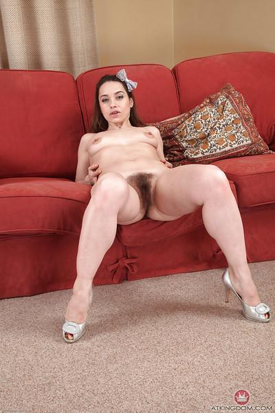 Horny European babe Olga Cabaeva fingering and spreading her hairy cunt