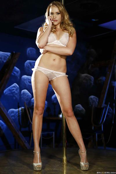 Blonde stripper Mia Malkova performs sexy striptease and spreads pussy