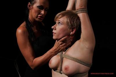 Nasty blonde with tiny tits Chicky Clarissa gets abused by Mandy Bright