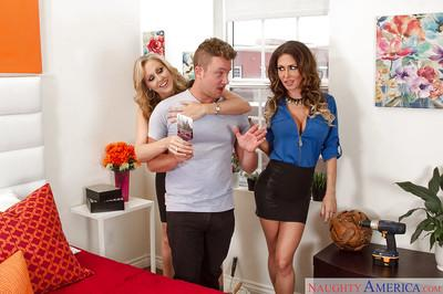 Big tit ladies Jessica Jaymes and Julia Ann seduce and fuck young stud
