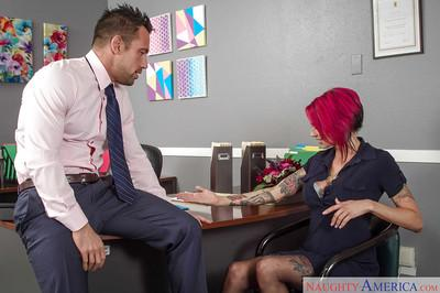 Tattooed redhead milf Anna Bell Peaks is being banged in her office