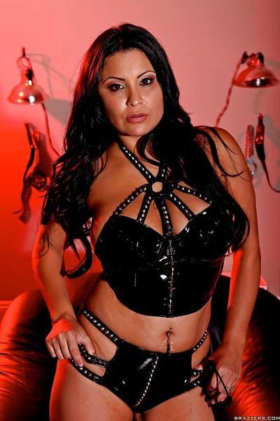 Kinky latin wife Sophia Lomeli posing in fetish lingerie and stockings