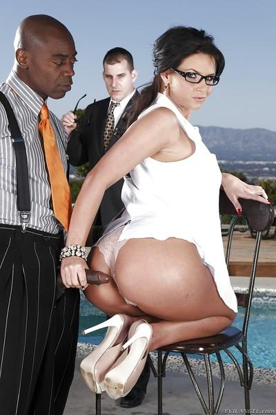 Filthy MILF in glasses Phoenix Marie is into interracial threesome