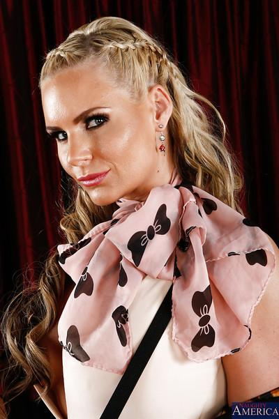 Playful blonde MILF in dress clothes revealing her ravishing curves