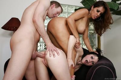 Ball licking action with Latina milf pornstars Francesca Le and Veruca James