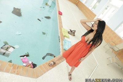 Indian MILF Priya Anjeli Rai is stripped and fucked by the pool