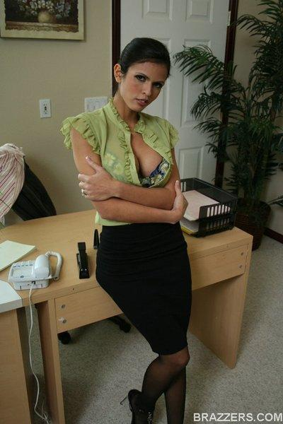 Latin MILF babe Shy Love strips off her lingerie in the office