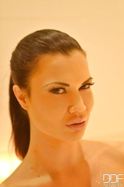 Mystic milf Jasmine Jae washes her hairy cootch and pets big clit