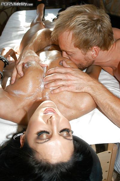 Oiled milf Ava Addams enjoys an hardcore groupsex with her friends