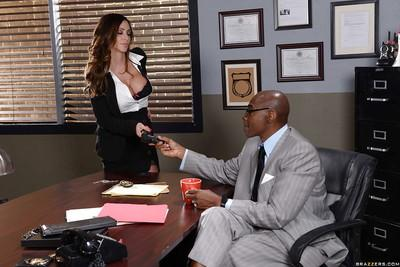 Brunette MILF Ariella Ferrera giving oral sex to big black cock in office