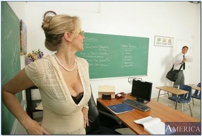 Blond teacher in glasses Julia Ann gets her MILF pussy stuffed hard