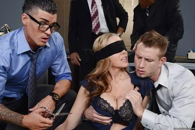 Courageous office slut with humongous tits Julia Ann takes on two dicks