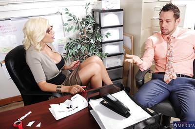 Lewd lady boss Puma Swede fucks her employee for a cumshot on her big tits