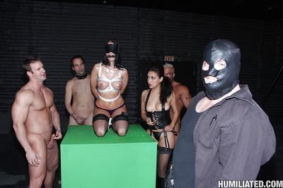 MILF babe Jennifer Dark gets into hardcore BDSM fuck with bukakke