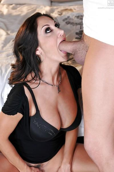 MILF pornstar Ava Addams giving blowjob and titjob to large cock