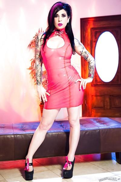 Joanna Angel shows off some amazing curves in a sexy red dress