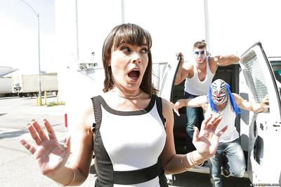 Mature slut Dana DeRmond gangbanged by group of masked men