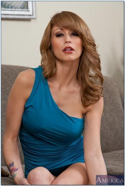 Elegant blond MILF Monique Alexander flashing tits and ass upskirt