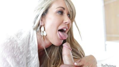 Amazing blonde Brandi Love is sucking this hard dick in wet style
