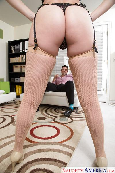 MILF pornstar and wife Dana DeArmond giving hubby bj in stockings