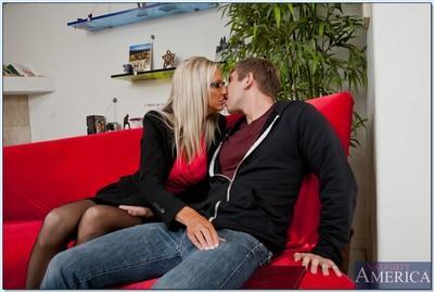 Blonde MILF in glasses Emma Starr sucks and fucks a huge cock