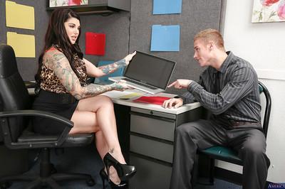 Tattooed cougar milf Darling Danika has her big tits teased while fucking