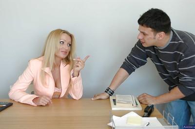 Beauty teacher blonde Diana Doll is giving a good deep blowjob