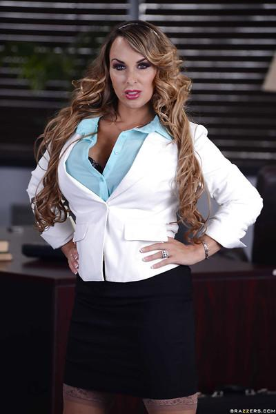 Curvaceous office MILF in stockings getting nude at her workplace
