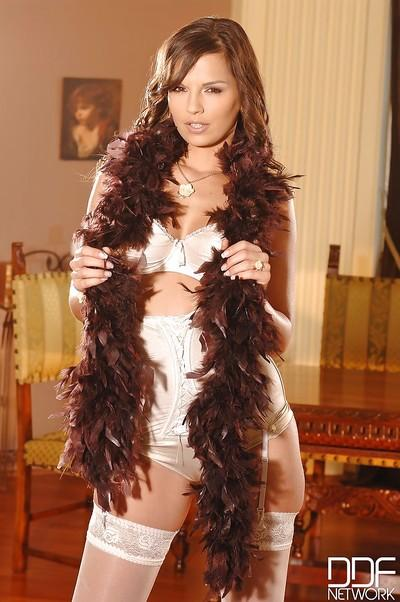 European MILF Eve Angel posing sexily in high heels and lingerie