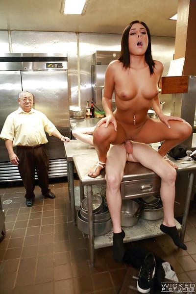 Latina milf Gianna Nicole fucks in kitchen with a cook so hard