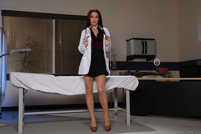 Hot doctor Monique Alexander flashing thong panties in examination room