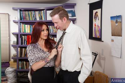 Redhead office slut Monique Alexander gets fucked for a facial cumshot