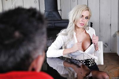 Hot blonde mom Nina Elle is aghast at the size of monster penis