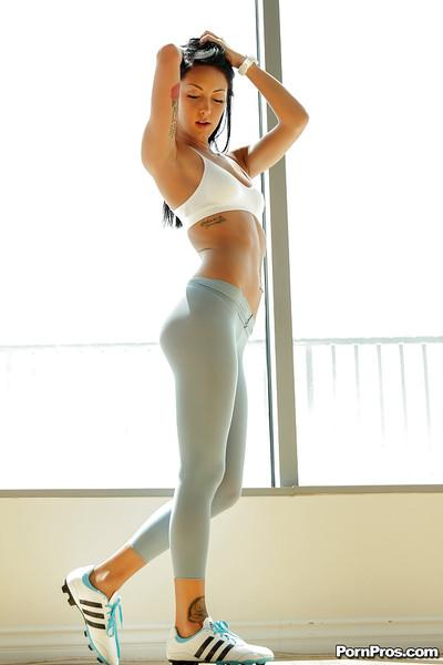 Undressing scene with a milf babe Sabrina Banks in yoga pants