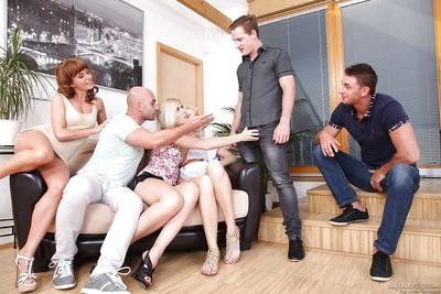 Wicked foursome fucking with horny moms Sandy E and Bella Baby
