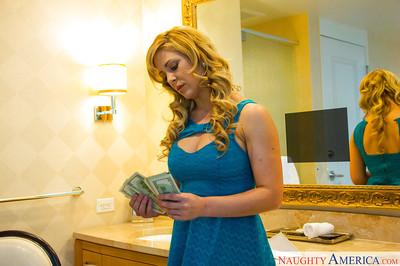 Blonde escort Cherie DeVille removing pretty panties while getting naked