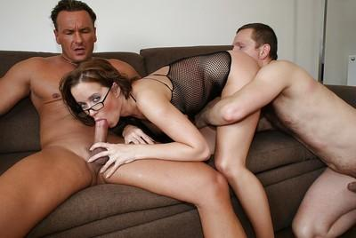Horny MILF Cindy Dollar has FMM groupsex and takes double facial cumshot