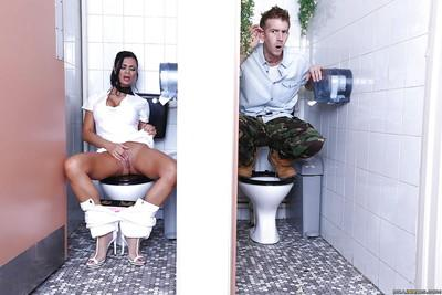 Hot MILF gets watched rubbing her slit and squrting in the public restroom