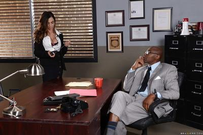 Interracial office sex with Latina MILF Ariella Ferrera giving BBC a bj