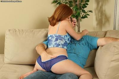 Saucy redhead MILF enjoys a passionate foreplay and gives a fervent blowjob