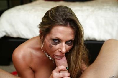 Cumshot scene with a busty milf Rachel Roxxx enjoying a big load of cum