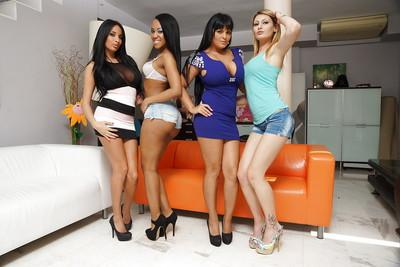 Frisky ladies on high heels uncovering their seductive curves