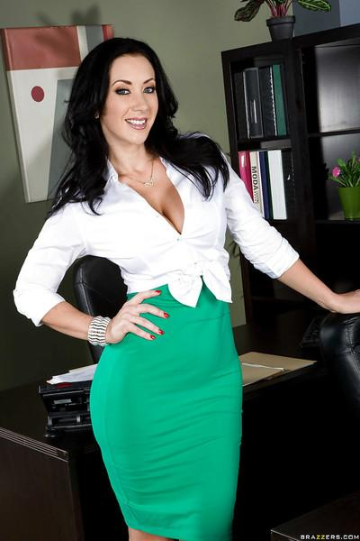 Office milf Jayden Jaymes demonstrates her amazing big natural boobs