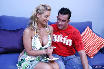 Phoenix Marie teasing her boyfriend by giving him a nice blowjob